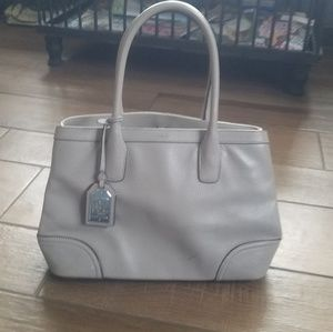 RLL ralph lauren leather gray purse satchel
